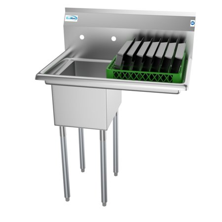 "1 Compartment 31""Stainless Steel Commercial Kitchen Prep & Utility Sink with Drainboard - Bowl Size 12"" x 16"" x 10"""