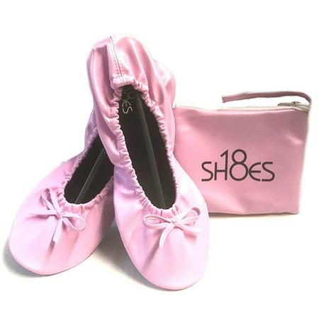 Shoes8teen Women's Foldable Portable Travel Ballet Flat Shoes w/Matching Carrying Case (7/8 Pink sh-18) Purple Ballet Flats