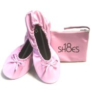 Shoes8teen Women's Foldable Portable Travel Ballet Flat Shoes w/Matching Carrying Case (7/8 Pink sh-18)
