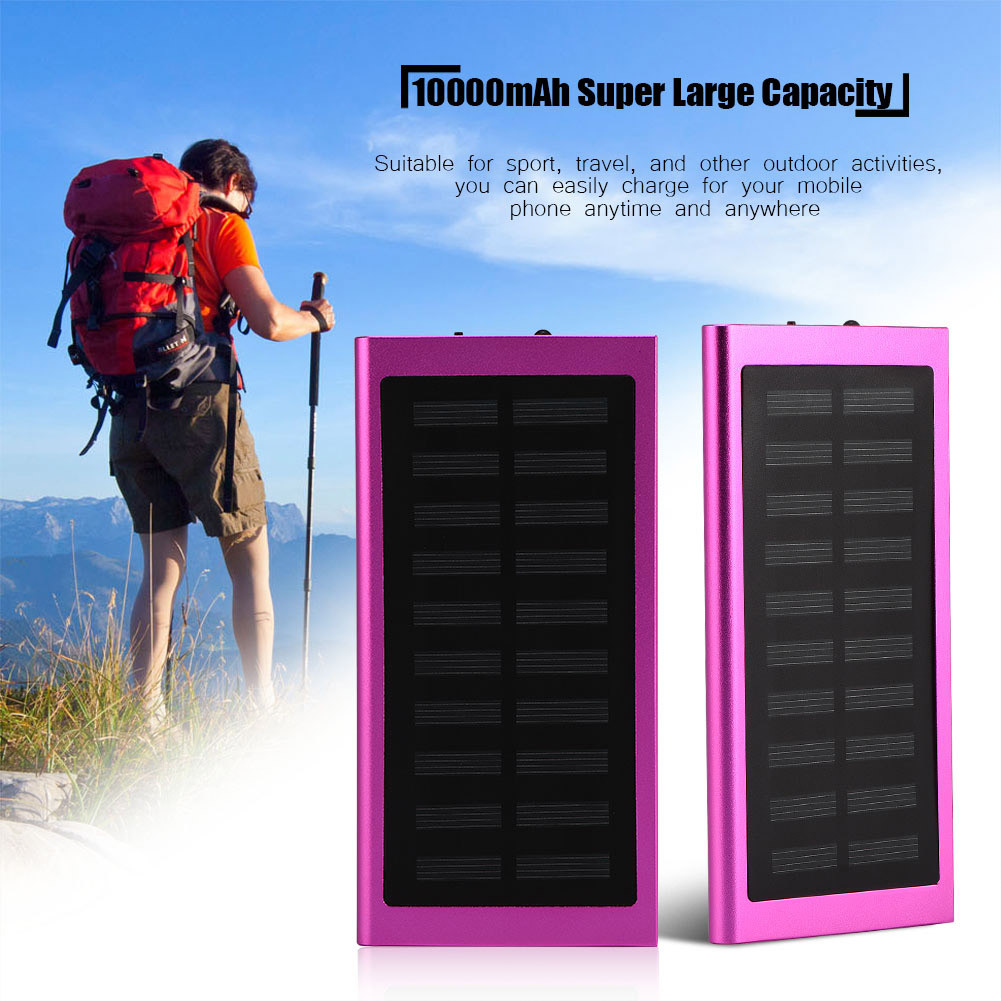 Portable Solar Powered Dual USB Cell Phone Charger 500000mAh Battery Charger Bank(Red)