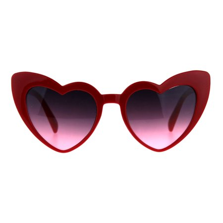 Cats Pink Eye (Womens Oceanic Color Lens Heart Shape Cat Eye Valentines Sunglasses Red Pink Smoke)