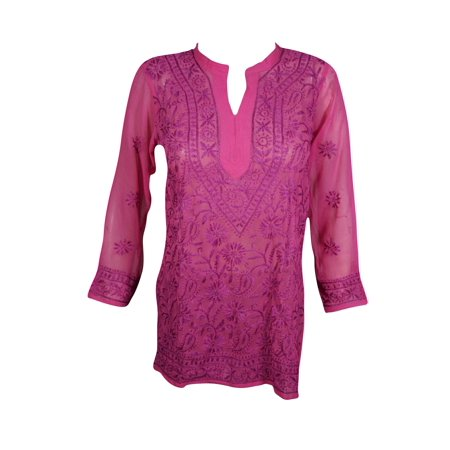 Mogul Womens Beautiful Dark Pink Floral Hand Embroidered Tunic Blouse Long Sleeves Georgette Sheer Kurti Cover Up Top Dress XS