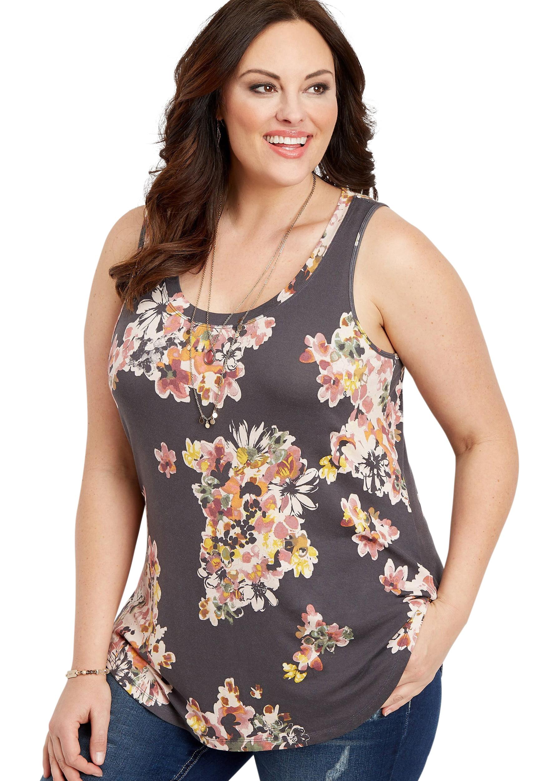 3dc7ffe26b maurices - Plus Size 24/7 Floral Scoop Neck Tank - Walmart.com