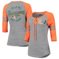 Miami Hurricanes 5th & Ocean by New Era Women's 2.0 Tri-Blend Lace-Up Raglan Three-Quarter Sleeve T-Shirt - Heathered