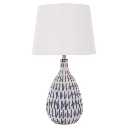 River of Goods White Linen Table Lamp with Ceramic Blue and White Base ()