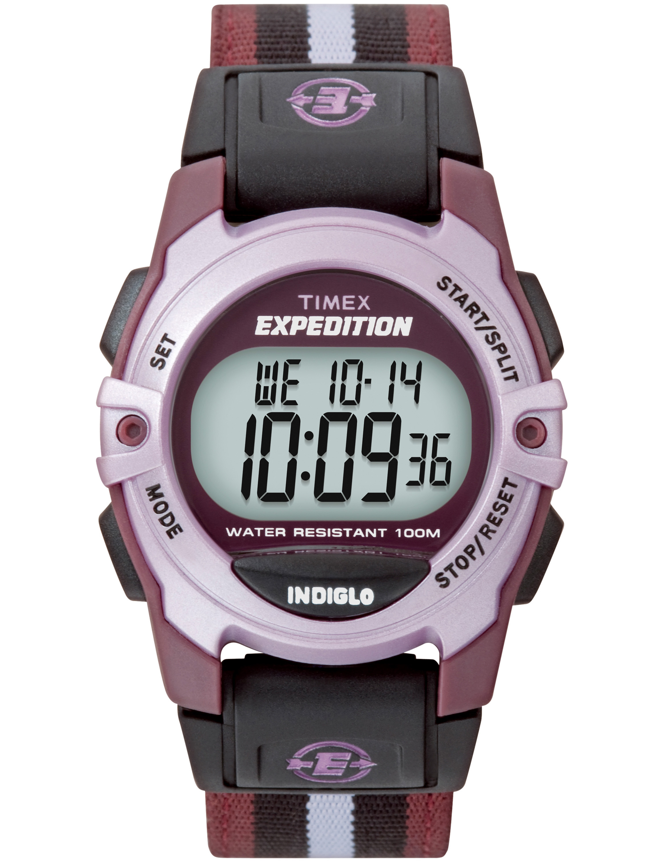 Unisex Expedition Digital CAT Mid-Size Watch, Purple Stripe Nylon Strap