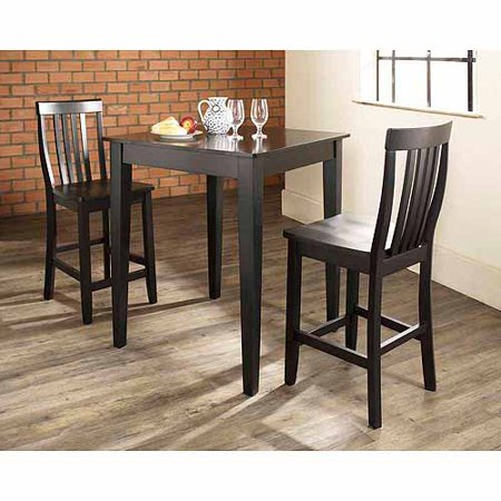 Crosley Furniture 3-Piece Pub Dining Set with Tapered Leg and School House -