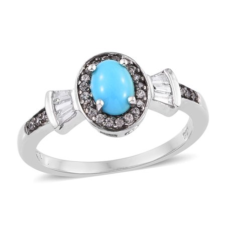 - Halo Ring 925 Sterling Silver Platinum Plated Sleeping Beauty Turquoise Zircon Gift Jewelry for Women Size 9