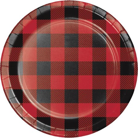 Creative Converting Buffalo Plaid Dessert Plates, 8 ct - Plaid Paper Plates