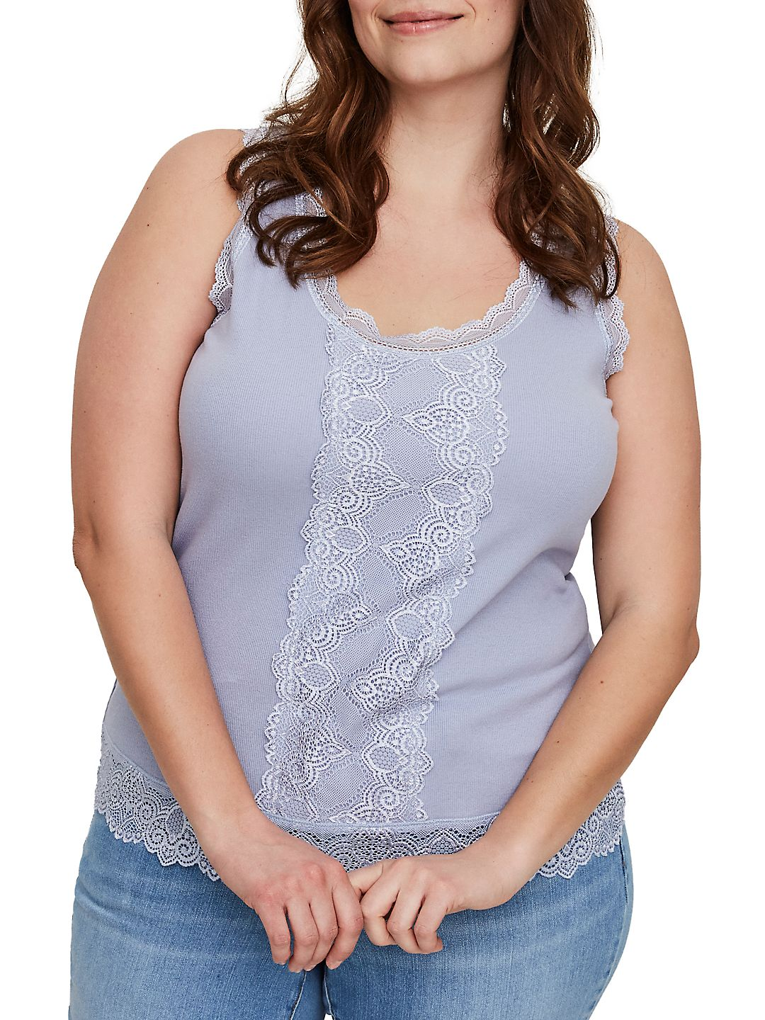 Plus Adelma Lace-Trimmed Tank Top