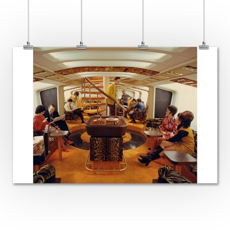 Boeing 747 Interior View of Airplane (36x54 Giclee Gallery Print, Wall Decor Travel