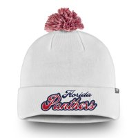 Florida Panthers Fanatics Branded Women's Team Dazzle Cuffed Knit Hat with Pom - White - OSFA