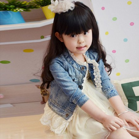 Girls Kids Jean Coat Jacket Outwear Denim Top Button Lace Button Outfits