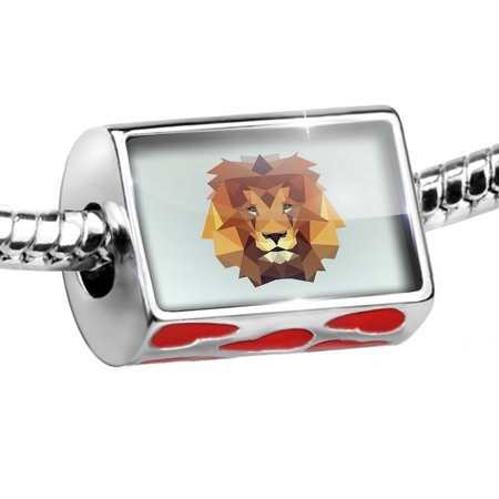 - Bead Low Poly Animals Modern design Lion Charm Fits All European Bracelets
