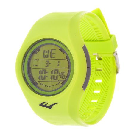 Retro Kids Digital Round Sport Mens's LED Yellow Watch with Rubber Strap