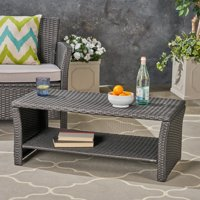 Antony Outdoor Wicker Coffee Table, Gray
