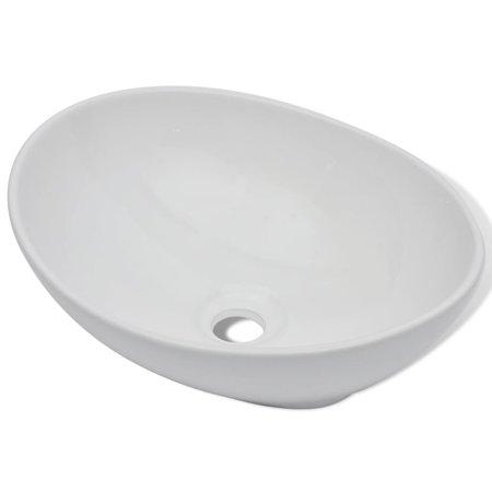 Oval-shaped Ceramic Vessel Sink, Vanity Sink, Above Counter White Countertop Sink, Art Basin Wash Basin for Lavatory Vanity Cabinet 16.1
