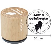 """Woodies Mounted Rubber Stamp 1.35""""-Let's Celebrate"""