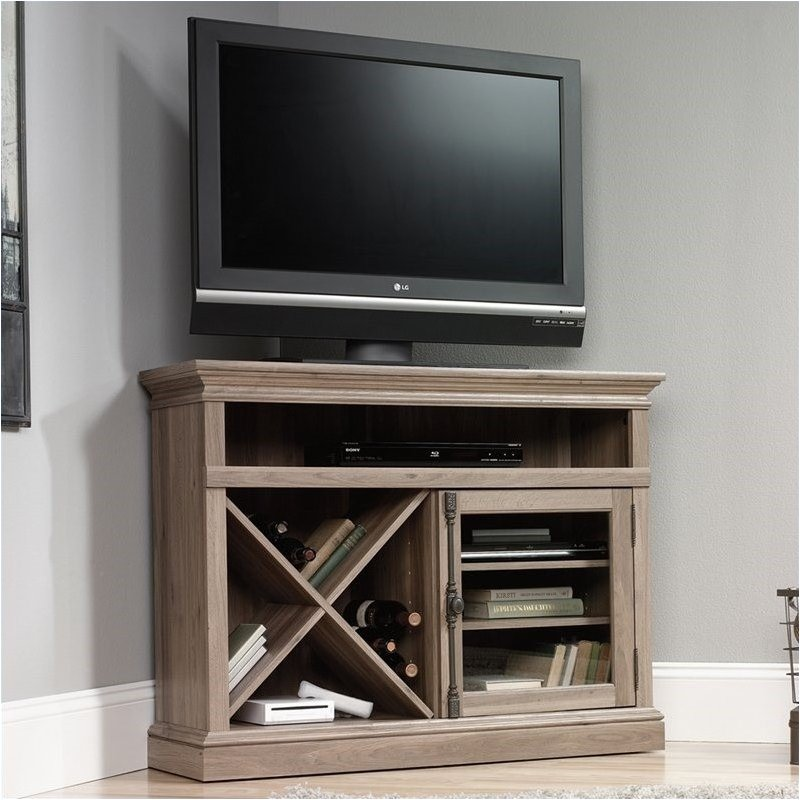 Pemberly Row Corner Entertainment Stand in Salt Oak