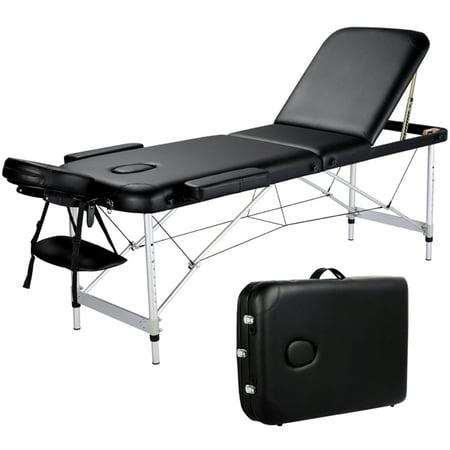Adjustable Aluminum 3 Sections Massage Table Portable Massage Bed with Backrest/Headrest/Armrest/Hand Pallet Black ()