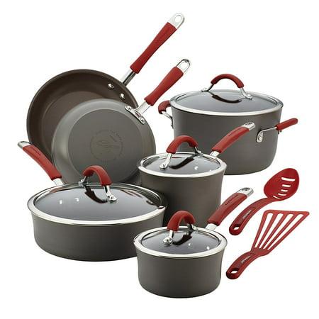 Rachael Ray Cucina Hard-Anodized Aluminum Nonstick Cookware Set, 12-Piece, Gray, Cranberry Red (Grey Anodized Aluminum Box)