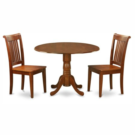 East West Furniture Dublin 3 Piece Drop Leaf Dining Table Set with Portland Wooden Seat Chairs Portland Trailblazers Two Piece
