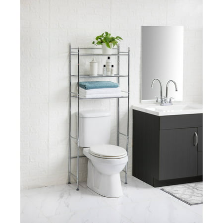 Mainstays 3-Shelf Bathroom Over the Toilet Space Saver with Liner, Chrome ()