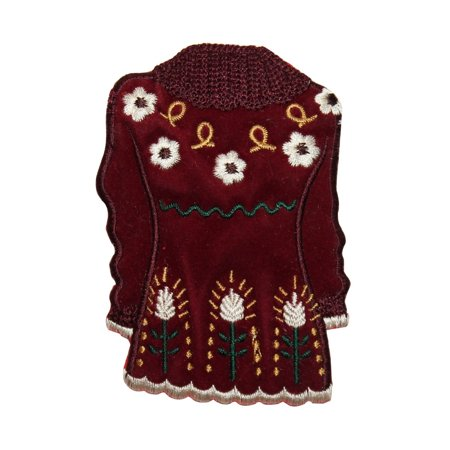 ID 7874 Fuzzy Winter Dress Patch Floral Fashion Embroidered Iron On Applique - Fuzzy Dress