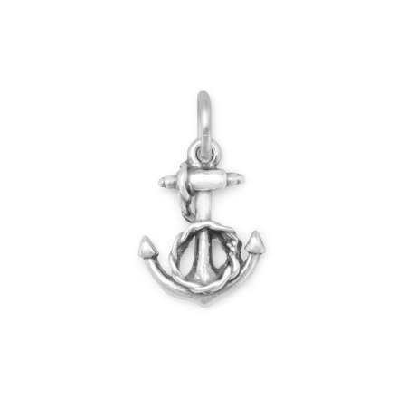 Sterling Silver Anchor Charm - Anchor and Rope Charm Sterling Silver, Made in the USA