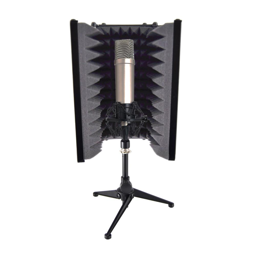 Pyle PSMRS08 - Compact Microphone Isolation Shield, Studio Mic Sound Dampening Foam Reflector