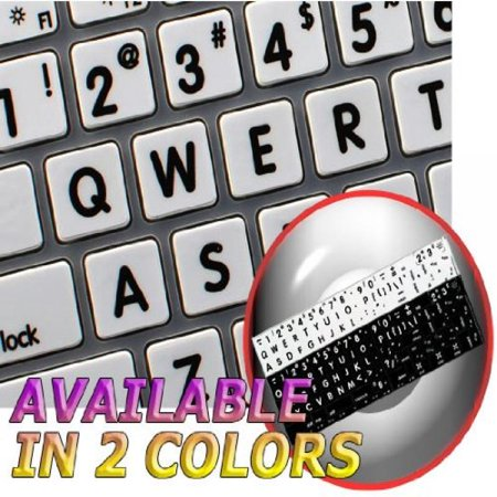 Mac Ns English Large Lettering Non Transparent Keyboard Labels White Background  Upper Case  For Desktop  Laptop And Notebook