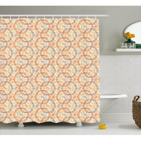 Star Shower Curtain Geometric Overlapping Hexagons Pattern With Ethnic Composition Abstract Grid Design Fabric