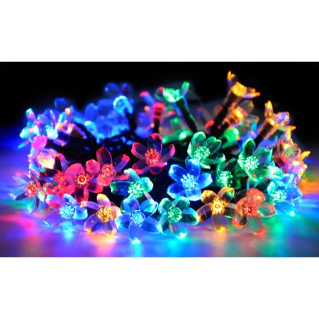 Bangcool 22.96ft 50 Solar Powered Blossoms Led String Light with 8-Mode for Halloween Party Christmas Tree Home Garden Indoor Outdoor Decor