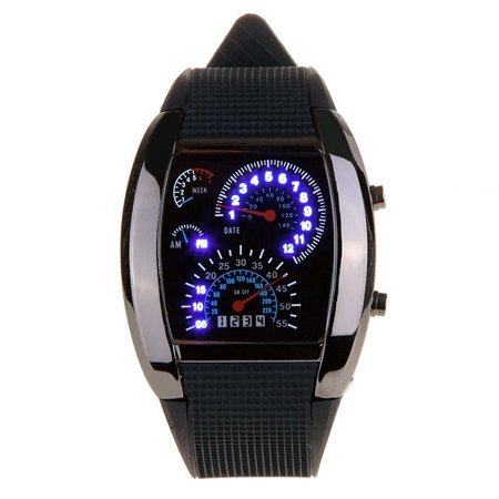 Led Racing Watch   Sodial R New Meter Dial Black Rubber Strap Blue Flash Dot Matrix Led Racing Watch  Water Waterproof Meter Dashboard Black Womens    By Sodial R