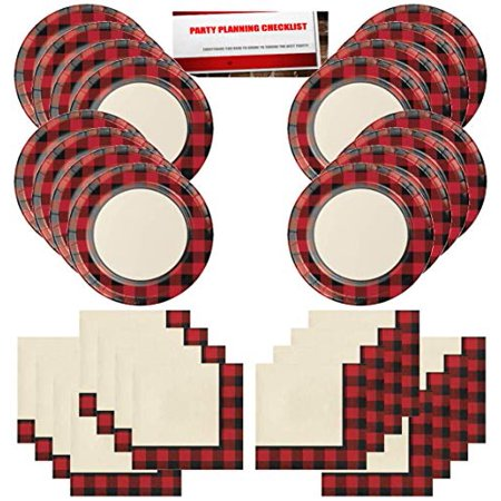 Buffalo Plaid Red Lumberjack Party Supplies Bundle Pack for 16 Guests (Plus Party Planning Checklist by Mikes Super Store)