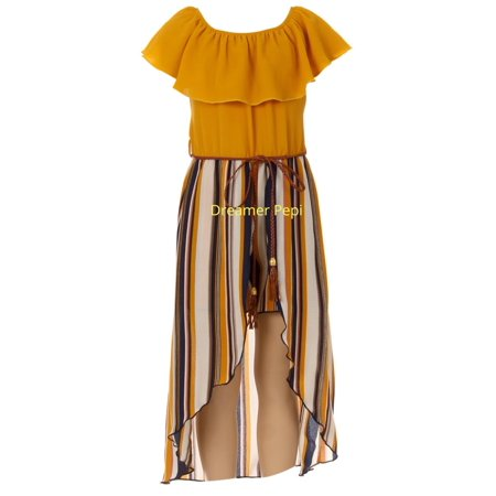 Maxi Palazzo Jumpsuit (Little Girls Off Shoulder Stripe Belt Jumpsuit Romper Maxi Skirt Dress USA Mustard 4 (J21KS42))