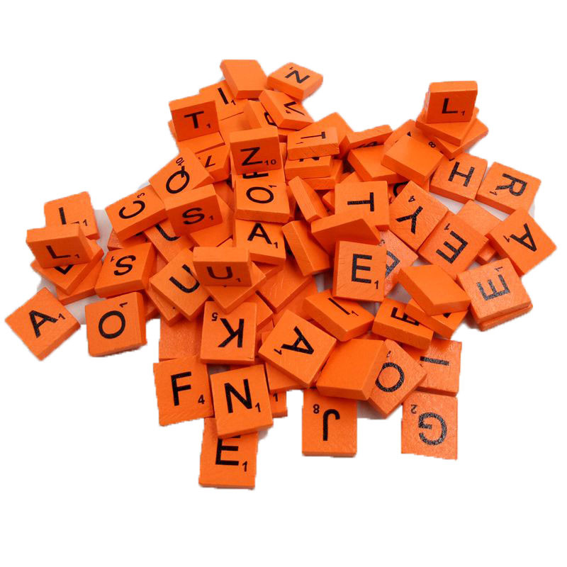 100 Wooden Scrabble Tiles Black Letters Numbers For Crafts Wood Alphabets BU