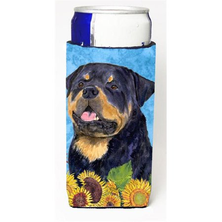 Carolines Treasures SS4158MUK Rottweiler In Summer Flowers Michelob Ultra bottle sleeves For Slim Cans - 12 oz. - image 1 de 1