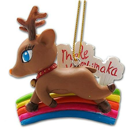 Mele Kalikimaka Reindeer Ornament 2.25
