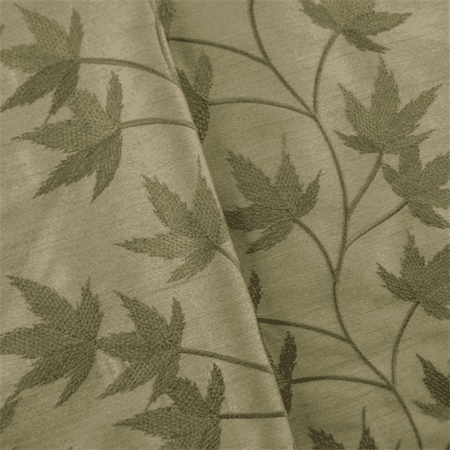 Sage Green Leaf Embroidered Drapery Fabric, Fabric By the Yard