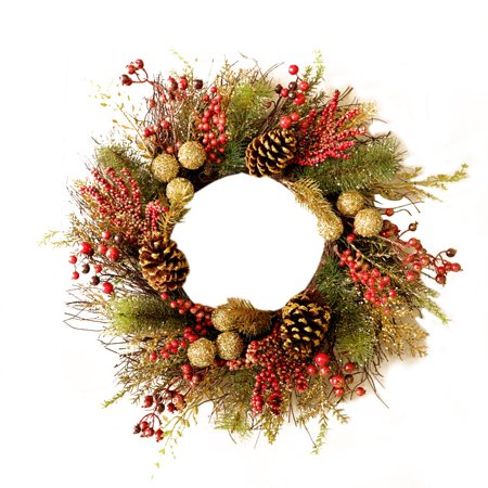 Gold Christmas Wreath.Warmly Red And Gold Christmas Wreath With Ball Ornaments Berries Ribbons And Flowers Harvest Wreath Front Door