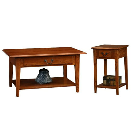 Favorite Finds 2 Piece Coffee Table and Square End Table Set in Medium Oak