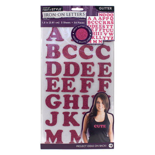 "Next Style 1.5"" Iron-On Letters, Pink Glitter"