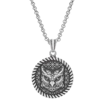 Mens 26 Rope Design Owl Pendant Necklace in Oxidized Stainless Steel (Steel By Design Jewelry)