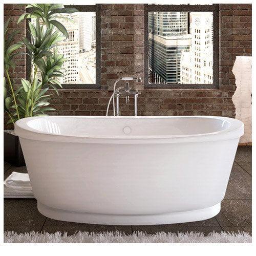 Spa Escapes Dhoni 65.37'' x 35.37'' Soaking Freestanding Bathtub with Center Drain
