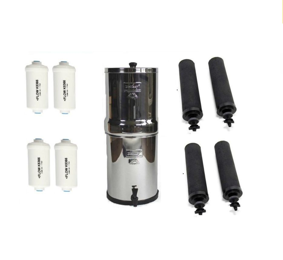 Imperial Berkey Water Purifier Combo with 4 Black and 4PF2 Elements