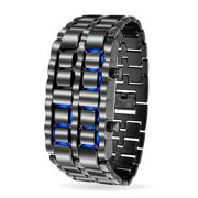 Mens Black Gunmetal Lava Blue LED Digital Watch Fashion Novelty Link Wrist Band Stainless Steel