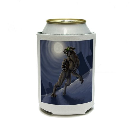 Dry Ice In Drinks For Halloween (Werewolf Wolf man - Worgen Full Moon Halloween Scary Can Cooler Drink Insulator Beverage Insulated)
