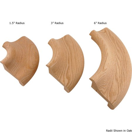 1.5 Radius Corners (Bar Rail Molding - Wood Arm Rest - 90º Corner - Red Oak - 1.5