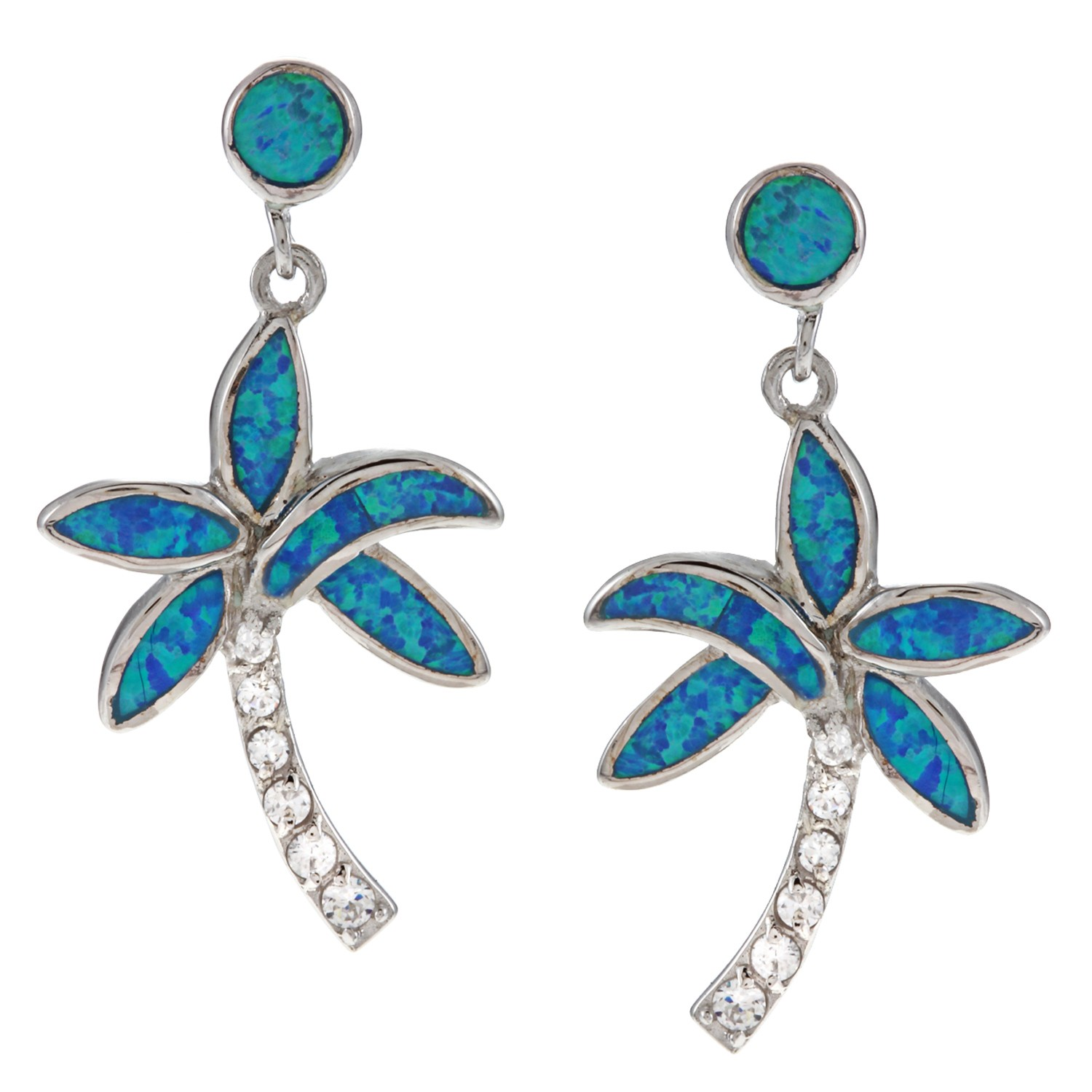 Beaux Bijoux Sterling Silver Blue Opal & CZ Palm Tree Earrings